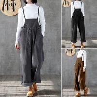 Mode Femme Combinaisons Velours Côtelé Loisir Ample Sans Manche Pantalons Plus