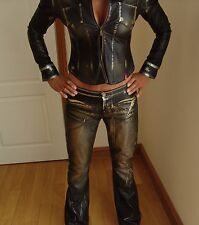 SEXY MISS SIXTY AUGUSTA COW LEATHER LOOK PVC JEANS TROUSERS