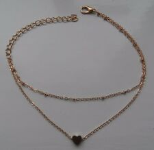 ANKLET BRACELET GOLDEN DOUBLE CHAIN WITH SMALL HEART