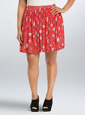 Torrid Floral Mesh Skater Skirt Red 00 Med Large 10 #96762
