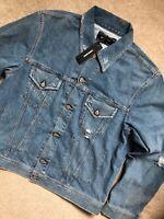 """DIESEL MEN'S BLUE """"D-ROBYN"""" DISTRESSED DENIM JACKET COAT SHIRT - XL - NEW & TAGS"""