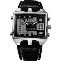 Men's Digital Quartz Wrist Watch Stainless Steel Case Sport Leather LCD Watch