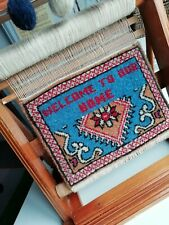 """Vintage FOLK ART Miniature Handwoven Rug LOOM -"""" Welcome to our Home"""" Display"""