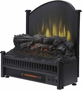Pleasant Hearth Electric Log Insert with Removeable Fireback with Heater, Black
