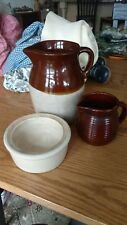 VINTAGE BROWN AND CREAM PITCHER & A CREAM BOWL USA POTTERY & MAPLE SYRUP PITCHER