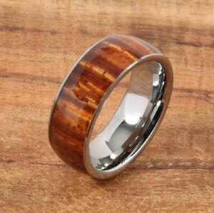 Tungsten Carbide Curly Hawaiian Koa Wood Ring 8mm (Comfort Fit)