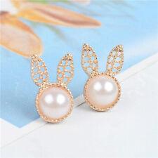 New Pearl Earrings lovely Bunny Earrings 18 carat gold earrings simple