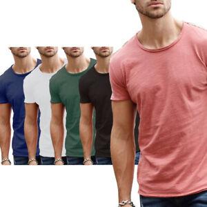 Mens Short Sleeve Fashion T-Shirt Top Black White Slim Fit Cotton S M L XL 2XL