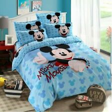 4pcs/set Mickey Mouse Kids Blue Duvet Cover Bed Sheet Bedding Twin/Full Gift