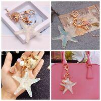 Gold Starfish Pearl Shell Crystal Key Chain Pendant Keyring Keychain Decoration