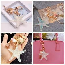 Crystal Starfish Gold Key Chain Pendant Keyring Keychain Bag Handbag Decoration