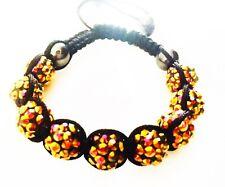 """USA"" Bracelet Rhinestone Crystal Ball Adjustable Handmade Shamballa Brown Dark"