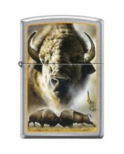 Zippo 4165 Mazzi Bison American Buffalo Street Chrome Finish Lighter