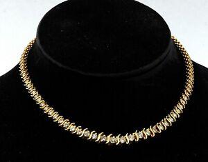 Heavy 14K YG 10.42CT diamond graduated Riviera necklace w/ large diamonds