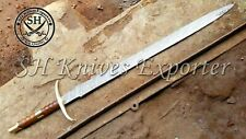 """40"""" INCHES CUSTOM MADE DAMASCUS STEEL DOUBLE HANDED PARASHOOT VIKING SWORD"""