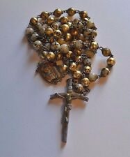 Antique Hand painted White Coral or Marble Catholic Rosary rare center piece