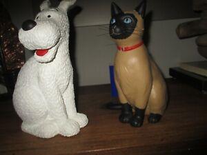 Hergé&Images mythiques-Sculptures Milou&chat,grands modèles,Neufs,jamais exposés