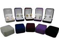 Velvet Earring Box Jewellery Case - Clip Stud Drop - Grey Blue Purple Black Burg
