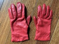 Vintage Leather Cashmere Lined Gloves Made In Italy Red Soft Buttery Leather 7
