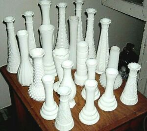White Milk Glass Milkglass Bud Flower 1 to 100 Vases a Lot Styles Sizes Wedding