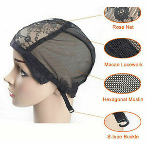 Breathable Adjustable Wig Cap Lace Mesh Hair Net Weaving Making Straps