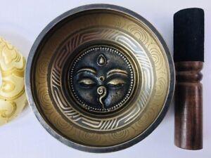 "5"" (Solar Plexus) Stunning Carved Bronze Nepalese Singing Bowl 570g ॐ"