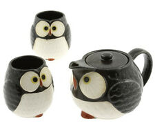 "Japanese Tea Set Ceramic Midnight Happy ""FUKURO"" Owl / New in Box/Made in Japan"