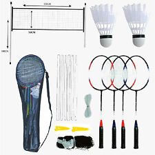 PROFESSIONAL BADMINTON SET 4 PLAYER RACKET SHUTTLECOCK POLES NET BAG GARDEN  GAME 113ff3f203fc2