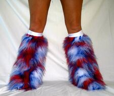 UV GLOW RED WHITE BLUE FLUFFY BOOT COVERS FLUFFIES FUZZY RAVE CYBER NEON FURRY