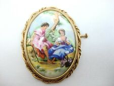 Vintage Victorian romance love Hand Painted Pin Porcelain Limoges Brooch love