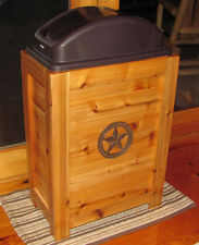 NEW RUSTIC WOOD KITCHEN TRASH CAN RECYCLING BIN 30 GAL CABIN WESTERN DECOR