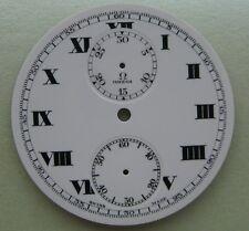 GENUINE VINTAGE OMEGA CHRONOGRAPH POCKET WATCH PORCELAIN DIAL dia 42.75 mm NOS