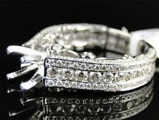 14K Womens White Gold Diamond Near Eternity Semi Mount Solitaire Engagement RIng