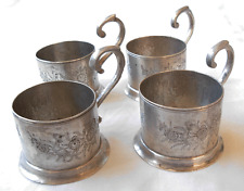SET OF 4 PERSIAN  ENGRAVED  SILVER MOKA CUP- GLASS HOLDERS --245 grams