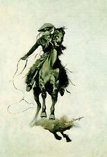"""Frederic Remington, antique, Southwest, Cow Puncher, Cowboy Horse, 20x14"""" Art"""