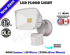 40 WATT White Motion Sensor Activated ETL DLC LED Flood Outdoor Security Light