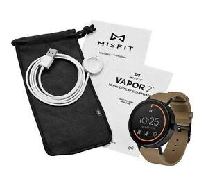 Misfit Vapor 2 46mm Jet Black Case w/ Walnut Sport Strap Smartwatch - MIS7203