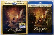 NEW DISNEY THE JUNGLE BOOK 2016 3D BLU RAY DVD 3 DISC SET + LENTICULAR SLIPCOVER
