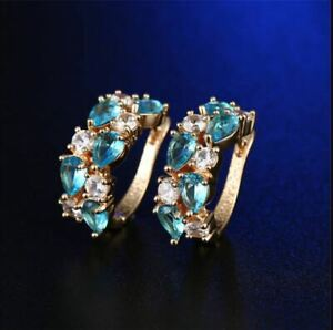 Delicate 1.70Ct Pear Cut Aquamarine Diamond Hoop Earrings 14K Yellow Gold Finish