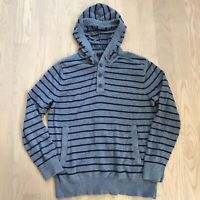 Banana Republic Outlet Mens Gray Blue Striped  Sweater Hoodie w/Pockets Size XL