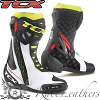 TCX RT RACE WHITE RED FLUO YELLOW MOTORCYCLE MOTORBIKE BIKE BOOTS REINFORCED
