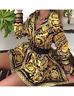 Black and Gold Paisley Print Flare Shirt Dress in Small Medium Large XL 2XL