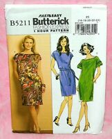 Uncut Butterick Misses 16-24 Fast Easy Shift Style Dress & Belt Pattern 5211