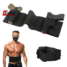 Elastic Concealed Mesh Dual Pistol Holster Belly Band Left Right Hand Gun Pouch