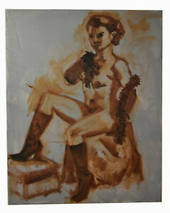 """20"""" Oil Painting Canvas Panel Woman Nude Sketch Study Shannon Brickey XXXIV"""
