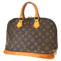 Authentic LOUIS VUITTON Alma Hand Bag Monogram Leather Brown M51130 33MD883