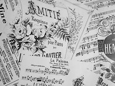 3  LARGE SHEETS MUSIC WRAPPING PAPER WHITE 50 x 70 CM VINTAGE STYLE
