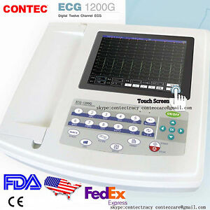 Portable ECG/EKG Machine Digital 12 Channels 12 lead Electrocardiograph,Touch,US