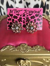 Betsey Johnson Spring Bloom Pastel Pink Blue Crystal Flower Floral Stud Earrings