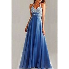 Clubwear/Prom Blue Polyester Sequin Full Length Halter Empire Waist Dress XS